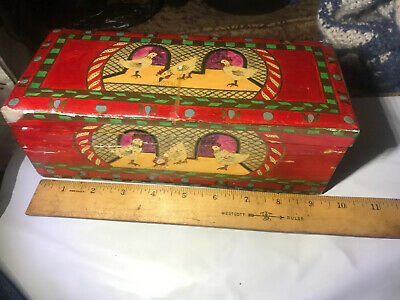 Vintage Americana Hand Painted Wood  Box Chickens Ducks Country Home