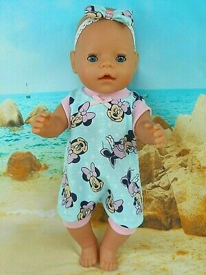 "Dolls clothes for 17"" Baby Born 16"" CBK DOLL~MINT~MINNIE MOUSE~SPOTS JUMPSUIT"