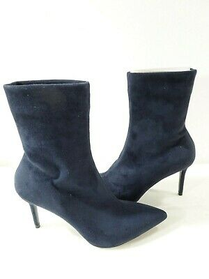 Theory Women's Natural Faux Suede Sock Boot Navy Size 41 NWOB 510.00
