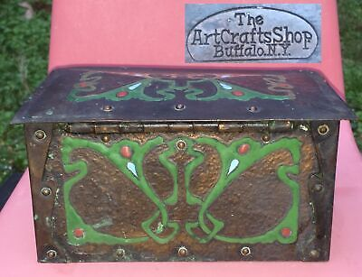 Rare Antique American Nouveau Box Copper & Enamel Art Crafts Shop NY (1902-06)