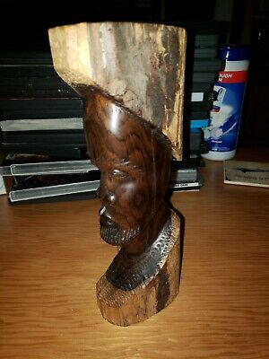 """Hand Carved Wooden Bust Of African Tribal Member 9.5"""""""