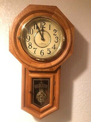 Oak Classic Manor REGULATOR Wall Clock Westminster Chime Pendulum Battery Quart.