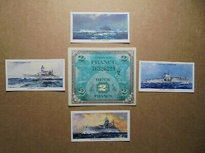 Ww2 French Allied Occupation Money And Cigarette Cards Of French Warships.