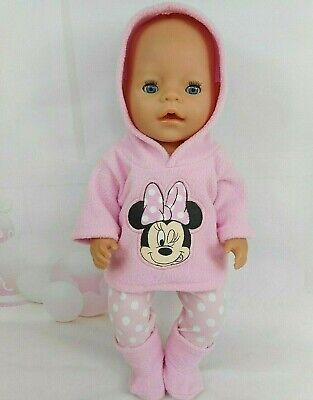 "Dolls clothes for17"" Baby Born doll~MINNIE MOUSE SOFT PINK HOODIE~LEGGINGS~BOOTS"