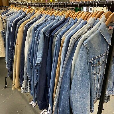 Vintage Wholesale Job Lot of Denim Mens Womens Jackets Shirts 72 Pieces  #3