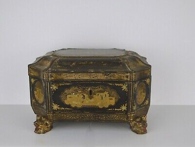 A Chinese 19Th Century Lacquer Tea Caddy With Original Tea Containers