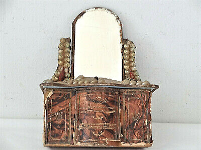 Antique Shellwork Sewing Notions Box