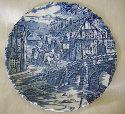 Pretty Blue and White Saucer by Alfred Meakin Titled ''The Post House''