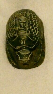 """Hand Carved Stone Scarab Beetle with Heiroglyphs Egyptian Paperweight.4.5"""""""