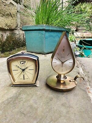 A Pair Of Vintage Quality Alarm Clocks By Swiza & Slava - 7&8 Jewels - Working