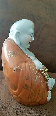 Stunning Antique Chinese Famille Rose Porcelain Laughing Buddha 260mm high