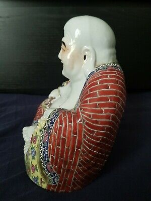Large Antique Chinese Famille Rose Porcelain Laughing Buddha 230mm high