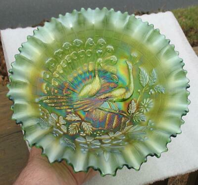 "NORTHWOOD   ""PEACOCKS on the FENCE""   GREEN CARNIVAL GLASS PCE BOWL"