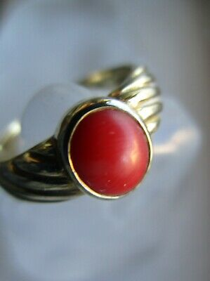 Antiker Jugendstil/Art Deco 8k 333er Gold Ring Koralle Cabochon