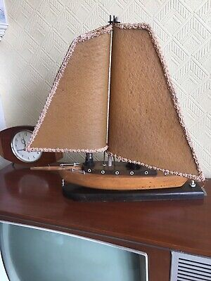 Beautiful Vintage Wooden Boat Lamp Sailing Ship Retro Mid Century Working