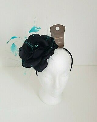 Occasions by Failsworth Millinery black & turquoise headband fascinator, New