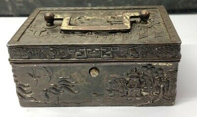 Antique Chinese Silver Plated Trinket Jewellery Box Chest- Signed @ 1900