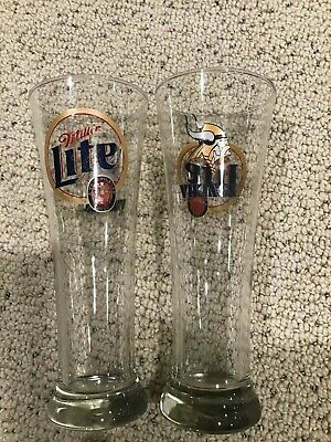 Set of 2 Miller Lite Minnesota Vikings Pilsner Beer Glasses