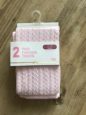 Girls Pale Pink Patterned Fashion Tights. Age 11-12. New One Pair