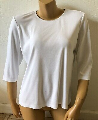 CHRISTOPHER & BANKS Womens Size Large White 3/4 Sleeve 100% Cotton T Tee Shirt