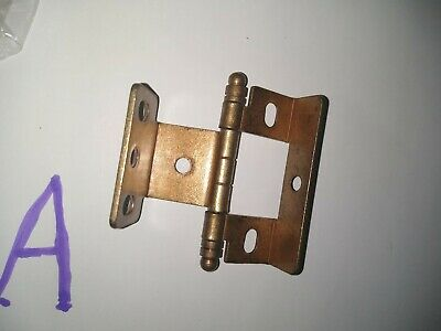 "Furniture Cabinet Hinges Inset Brushed Antique Brass 3/4"" NON SELF CLOSING Pairs"