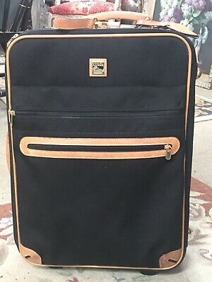 DOONEY & BOURKE VINTAGE Black Tan LUGGAGE TRAVEL TRUNK Rolling Suitcase Carry On