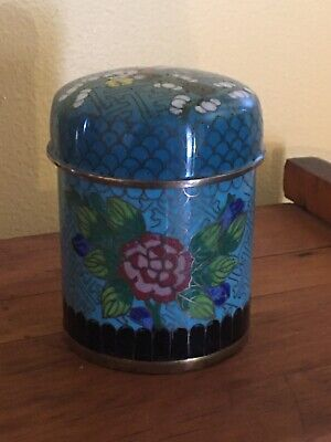 Antique Chinese Cloisonne Lidded Jar Enameled Tea Caddy Tobacco Trinket Box