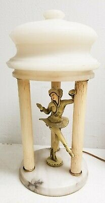 Period Art Deco Lamp Cold Painted Figural Ballerina Alabaster Lorenzl Manner