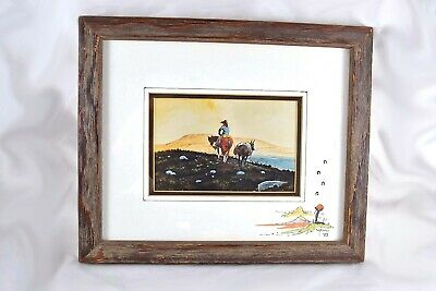 William T. Zivic Signed Watercolor Cowboy Western Art Americana Framed 11.5x9.5