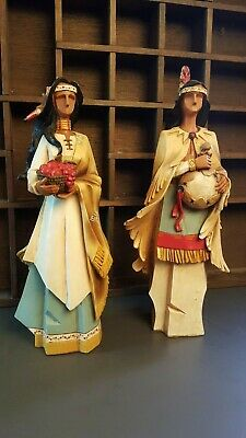 "Two Pacific Rim Native American Figures Figurine Sculptures 9"" Decor'"