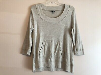Talbots Womens Beige Knits Front Pocket Sweater 3/4 Sleeve Petites Size L