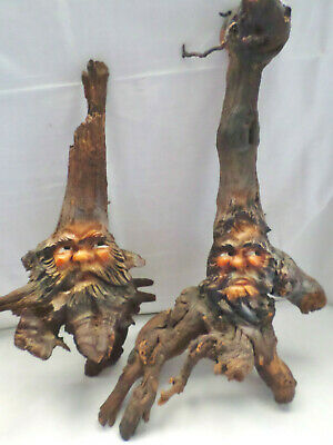 Antique Large Pair Hand Carved German Black Forest Wood Man Face Tree Spirits