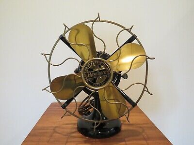 Antique Western Electric Table Fan with Brass Blades and Cage