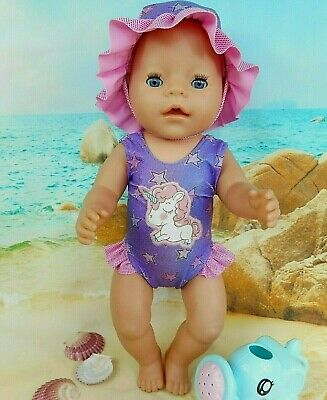 "Dolls clothes for 17"" Baby Born Doll~BABY UNICORN PURPLE~STARS~SWIMMING COSTUME"