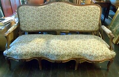 Antique FRENCH ROCOCO SOFA  Settee 19th C. Hand Carved Botanicals Gilt Chateau