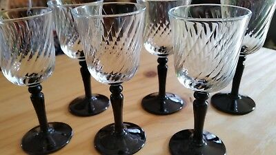 Six Onyx Wine Glasses by Cristal D'Arques-Durand of France - Black Stemmed
