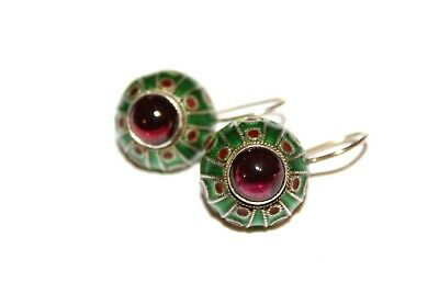 Antique Chinese Export Garnet Enamel Sterling Silver Vermiel Earrings