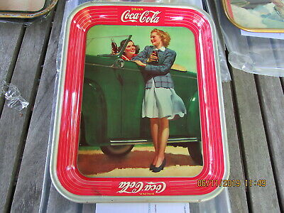 Coca Cola Coke Tray 1942 Girls By Roadster American Art Works, Excellent + Wwii