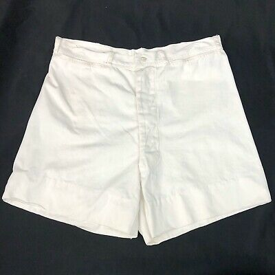 Vintage 40s White US Navy Hemmed Dungarees Shorts WWII Era Button Fly Distressed