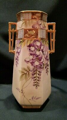 """Antique Nippon Gilded Beaded Hand Painted Wisteria Floral Vase 9.5"""""""