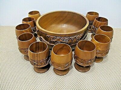 Monkey Pod Wood Carved punch Bowl with 11 Goblets MCM
