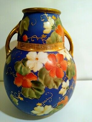 """Antique Nippon Hand Painted, Gilded, Morimura, Matte, Blue Floral Vase 8"""" tall"""