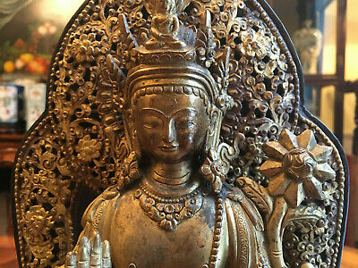 A Rare and Large Chinese Qing Dynasty Gilt Bronze Tara Bodhisattva, Marked.