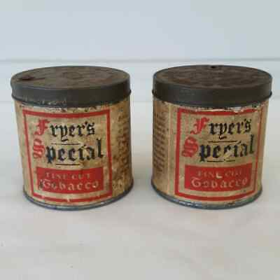 Vintage Fryers Special Fine Cut Tobacco Tin Lot Of 2 Smoking Collectable