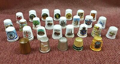 Vintage Sewing Thimbles From Around The World China Wood Metal Lot Of 28
