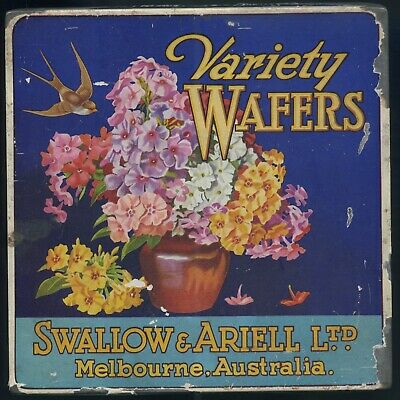 """C1920'S """"Variety Wafers"""" Paper Label Tin Swallow & Ariell Ltd Melbourne Victoria"""