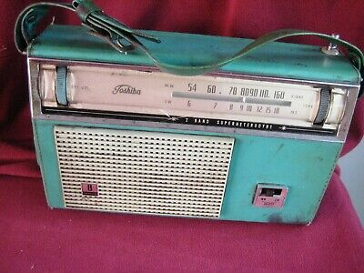 Vintage TOSHIBA 2 Band Transistor Radio Model 8L-450R Green-for Restoration L@@K