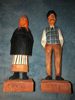 Vintage Hannah Canada Hand Carved Folk Art Wood Figures Old Man  And Women