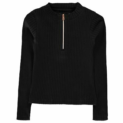 Firetrap Girls Kids Long Sleeve Half Zip High Neck Casual Sweater Pullover Top