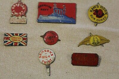 8 Metal Tobacco Tags - Various Makers, 6 Are American, 2 Are Australian.